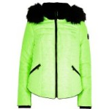 River Island Neon yellow faux fur hood padded coat ~ bright winter jackets
