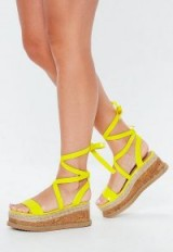 MISSGUIDED neon yellow lace up flatform espadrilles – STRAPPY FLATFORMS