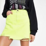 River Island Neon yellow mini denim skirt ~ bright fashion