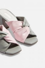 TOPSHOP NEPAL Twist Mules in Grey and Pink