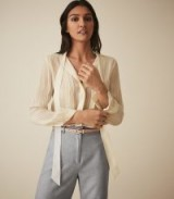 REISS NESSA SHEER STRIPED BLOUSE CREAM ~ luxe pussy bow blouses