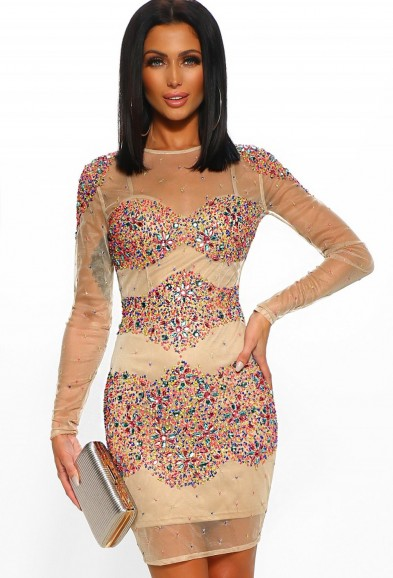 PINK BOUTIQUE New York Nights Nude and Multi Embellished Mesh Mini Dress – RAINBOW DRESSES