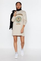 NASTY GAL Nil Sine Numine Colorado Sweatshirt Dress in Stone – casual sporty look