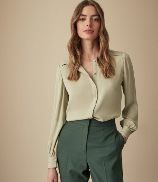 REISS NOA CUT OUT DETAIL BLOUSE SOFT GREEN ~ classic wardrobe staple