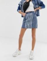 Noisy May stripe denim skirt in medium blue | multi striped mini