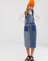 Noisy May Petite stripe denim pinafore dress | striped pinafores