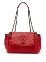 SAINT LAURENT Nolita monogram chevron-quilted leather bag in red ~ vintage style handbag
