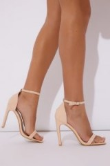 IN THE STYLE OLINIA CREAM PATENT BARELY THERE HEELS ~ nude strappy sandals