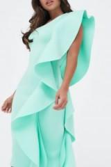 LAVISH ALICE one shoulder scuba exaggerated frill midi dress in mint – extreme ruffles