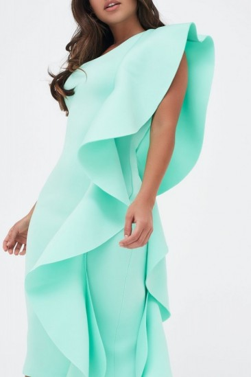 LAVISH ALICE one shoulder scuba exaggerated frill midi dress in mint – extreme ruffles