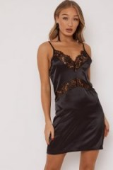 IN THE STYLE OPAL BLACK LACE TRIM SATIN SLIP DRESS ~ lbd ~ glamorous slip