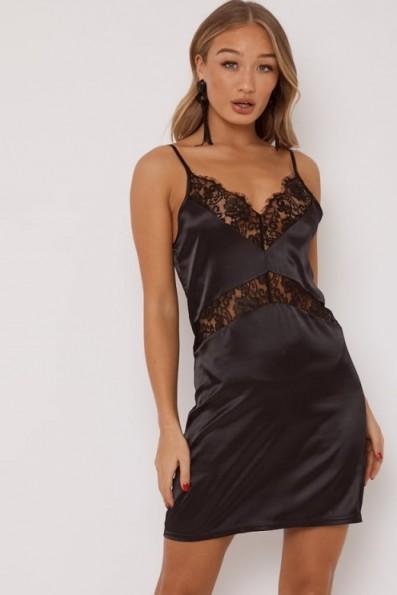 IN THE STYLE OPAL BLACK LACE TRIM SATIN SLIP DRESS ~ lbd ~ glamorous slip