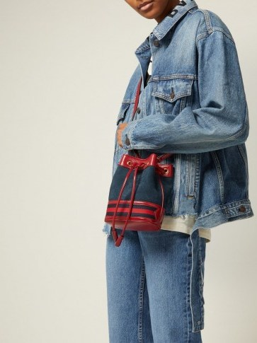 GUCCI Ophidia mini navy suede bucket bag ~ small casual blue and red drawstring bags - flipped