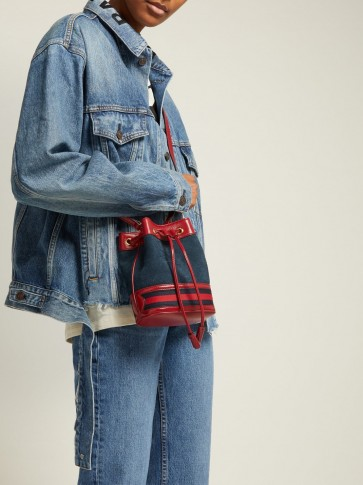 GUCCI Ophidia mini navy suede bucket bag ~ small casual blue and red drawstring bags