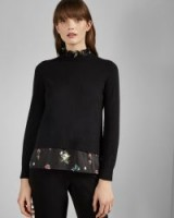 Ted Baker FLISITI Oracle mockable insert cotton jumper in black – frilly high neck