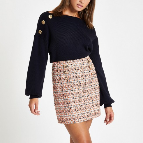 RIVER ISLAND Orange boucle mini skirt ~ button detail tweed skirts