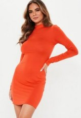 MISSGUIDED orange high neck mini dress ~ neon fashion trend 2019