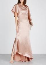 OSMAN Minnelli rose gold satin dress ~ cape-effect event gown