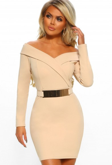PINK BOUTIQUE Out On The Town Nude Bardot Belted Bodycon Mini Dress – GOING OUT FASHION