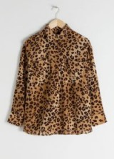 & other stories Oversized Leopard Silk Shirt
