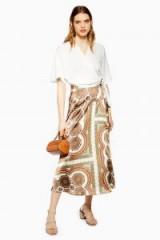 Topshop Paisley Bias Wrap Midi Skirt | fluid printed skirts