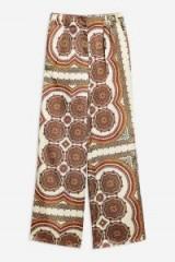Topshop Paisley Satin Wide Leg Trousers | silky retro print pants
