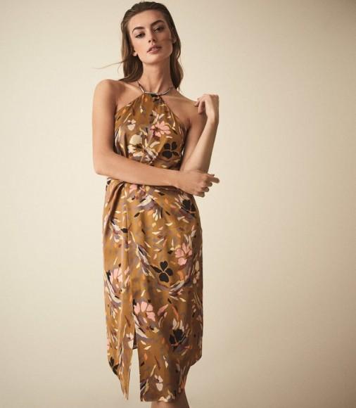 Reiss PAOLA PRINT HALTER NECK COCKTAIL DRESS / floral print halterneck evening dress