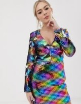 Parisian all over rainbow sequin v-neck dress – MULTI COLORED SEQUINS
