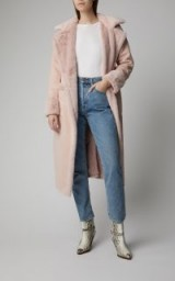 Apparis Pauline Faux Shearling Coat in Pink | luxe fur coats