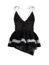 GERMANIER Peplum-hem tinsel top in black