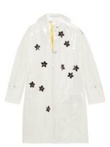 4 MONCLER SIMONE ROCHA Perspex-flower transparent hooded parka ~ clear floral mac