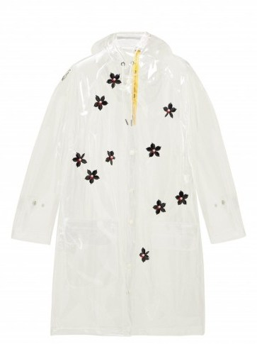 4 MONCLER SIMONE ROCHA Perspex-flower transparent hooded parka ~ clear floral mac - flipped