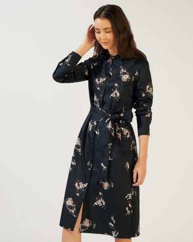 JIGSAW PETAL FRAGMENTS SHIRT DRESS IN BLACK / floral waist tie dresses