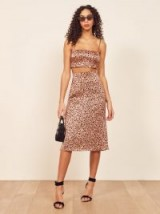 REFORMATION Pete Two Piece in Pink Panther / skirt and crop top set