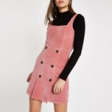 RIVER ISLAND Pink button front cord pinafore dress – corduroy pinafores
