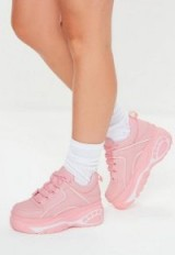 MISSGUIDED pink chunky sole platform trainers – girly sneakers