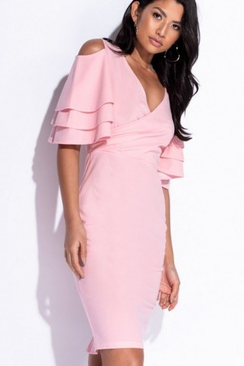 PARISIAN PINK MULTI FRILL SLEEVE WRAP FRONT BODYCON DRESS – COLD SHOULDER - flipped