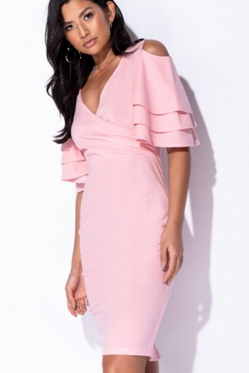 PARISIAN PINK MULTI FRILL SLEEVE WRAP FRONT BODYCON DRESS – COLD SHOULDER