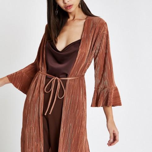 RIVER ISLAND Pink plisse kimono duster jacket ~ frill cuffed kimonos