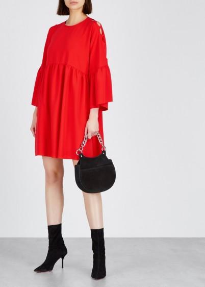 PINKO Red cut-out mini dress – ruffled cuffs