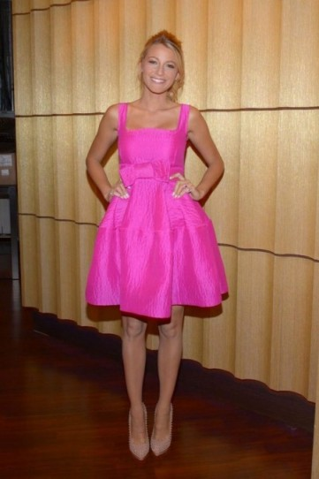 Blake Lively in neon pink