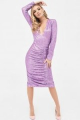 LAVISH ALICE pleated sequin midi dress in lilac – party glamour