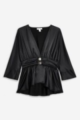 Topshop Plunge Button Ruched Blouse in black | deep V-plunging necklines