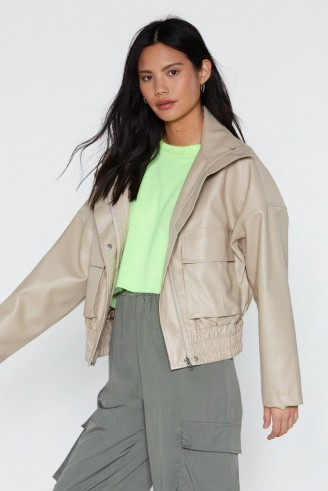 NASTY GAL Pocketful of Sunshine Faux Leather Jacket in Nude – slouchy drop shoulder jackets