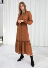 & other stories Polka Dot Ruffled Midi Dress in Orange   prairie dresses