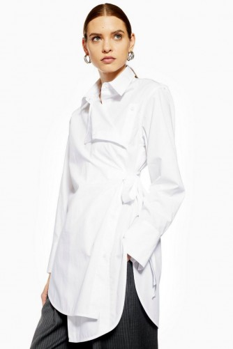 Topshop Boutique Poplin Wrap Shirt in White | contemporary longline shirts