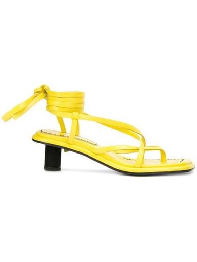 PROENZA SCHOULER Mid Heel Wrap Sandal-Capretto in Yellow – contemporary block heel