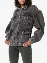 PushBUTTON Buckle Embellished Peasant Sleeve Denim Jacket in Washed Black | dropped gathered shoulder jackets