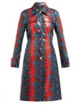 VERSACE Python-effect leather coat in blue and red ~ vintage style clothing