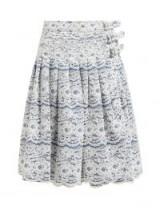 JUNYA WATANABE Rachelle lace-overlay denim midi skirt in blue